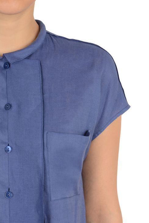 РУБАШКА С КОРОТКИМИ РУКАВАМИ ИЗ 100% ЛЬНА: Рубашки с короткими рукавами Для Женщин by Armani - 4