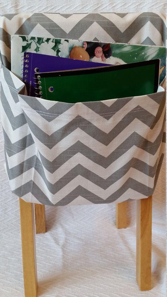 Set of 20 KINDERGARTEN Elementary Middle High School Chair Pockets Seat Sacks Teacher Classroom Organization 3inch pocket CHEVRON duck cloth