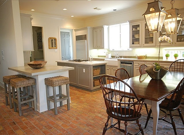 more Sally Wheat: Brick Floors, Cabinets Colors, Lights Fixtures, Sally Wheat, Kitchens Paintings Colors, Gray Cabinets, Bar Stools, Windsor Chairs, White Cabinets