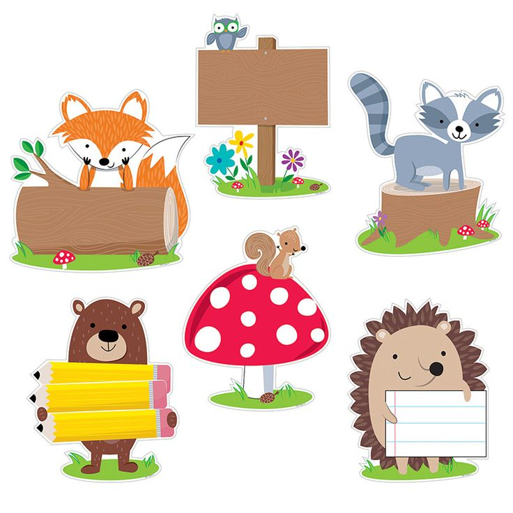 "These cute and furry Woodland Friends 10"" Jumbo cut-outs will add charm to bulletin boards, doors, and any classroom space. These colorful woodland animals (owl, fox, hedgehog, squirrel, bear and racc"