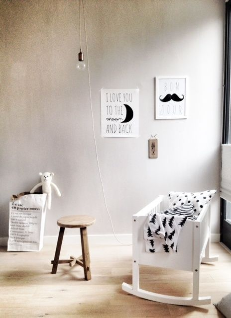 Pretty nursery black and white styling