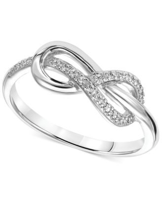 Diamond Accent Infinity Knot Promise Ring in Sterling ...