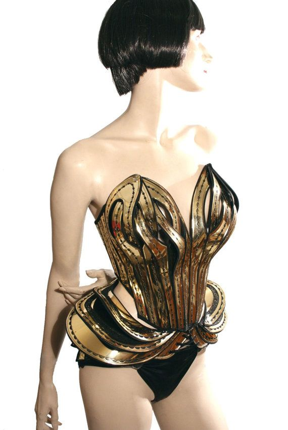 Gaudi inspired bustle burlesque divamp couture fetish steampunk cosplay armor scifi clothing futuristic cybergoth