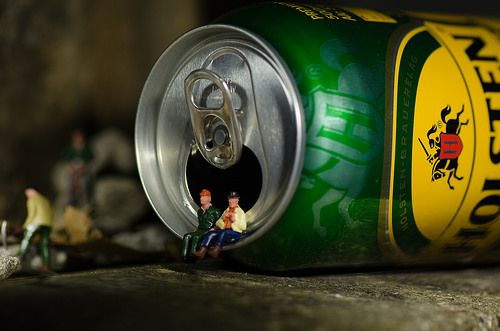 """Needed That - Fancy Another Small world, macro, beer can, still life. Inspired by Slinkachu's """"Overpowered"""".  See his amazing work here: http://slinkachu.com/little-people"""
