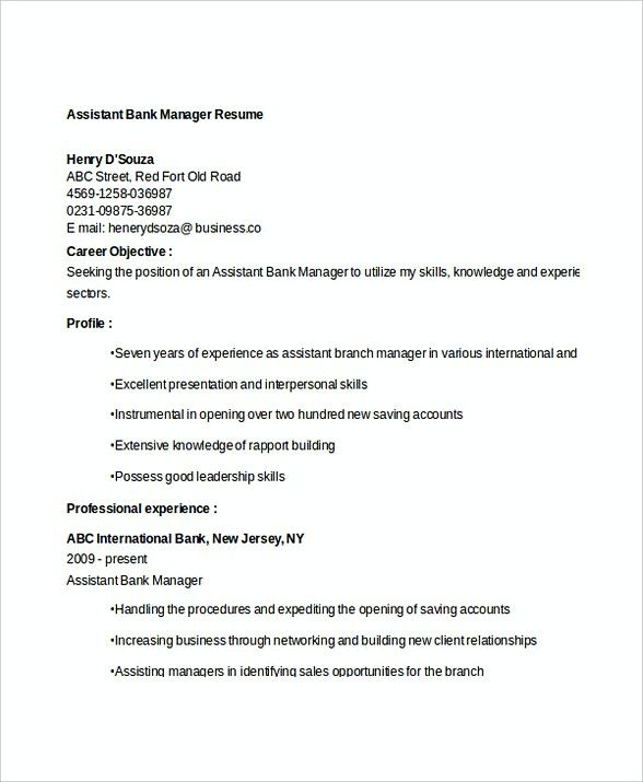 Assistant Bank Manager Resume , Bank Branch Manager Resume ,  This Bank Branch Manager resume is beneficial for those who want to apply for the position. Check this article to get the information about the job resume. Check more at https://templatedocs.net/bank-branch-manager-resume
