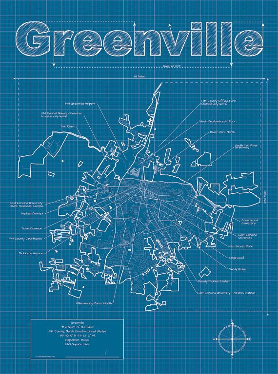 91 best city blueprints dd inspiration images on pinterest map greenville map original artwork greenville blueprint wall art gift for him street map north carolina map graduation gift malvernweather Choice Image