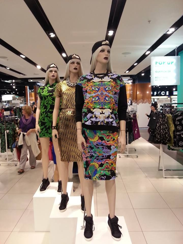 Oriental Dragon combo by Textile Federation makes the Topshop Oxford Circus mannequin / Print design by Elmira Amirova