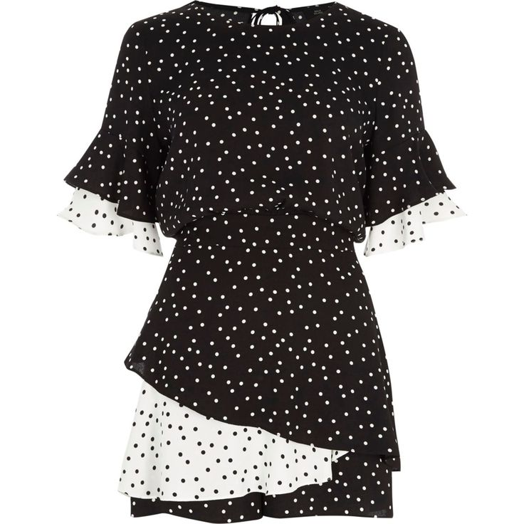Black polka dot double frill playsuit - Playsuits - Playsuits & Jumpsuits - women