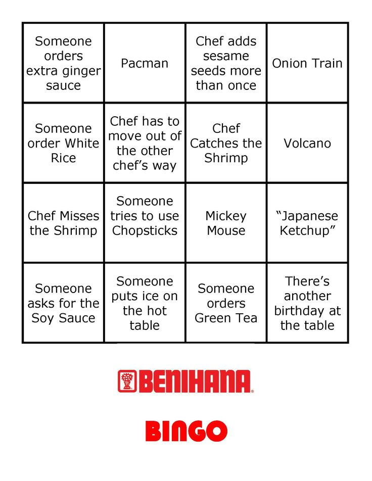 """Benihana Bingo Card #1. Includes: Onion Train, Someone tries to use Chopsticks, Chef Catches the Shrimp, """"Japanese Ketchup"""", Someone orders Green Tea, Mickey Mouse, Someone asks for the Soy Sauce, There's another birthday at the table, Someone orders extra ginger sauce, Someone puts ice on the hot table, Pacman, Chef adds sesame seeds more than once, Chef Misses the Shrimp, Chef has to move out of the other chef's way , Someone order White Rice, Volcano"""