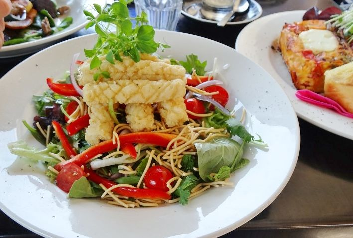 Salt and pepper squid with asian salad