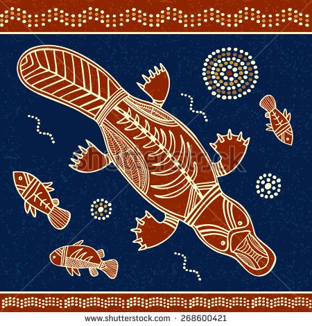 Platypus and fish vector illustration in australian aboriginal style  - stock vector