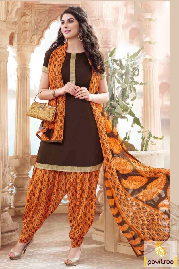 Show your traditional charm in this enticing brown orange cotton punjabi patiala salwar suit online shopping at cheap price. Buy online this punjabi suit with discount rate. #salwarkameez, #cottonsalwarkameez, #casualsalwarlameez, #printedsalwarkameez, #patialasalwarkameez, #churidarsalwarkameez, #discountoffer, #pavitraafashion, #utsavfashion http://www.pavitraa.in/store/patiala-salwar-suit/ callus:+91-7698234040