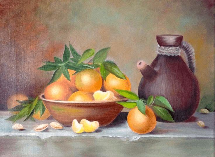 Натюрморт с мандаринами, картина маслом