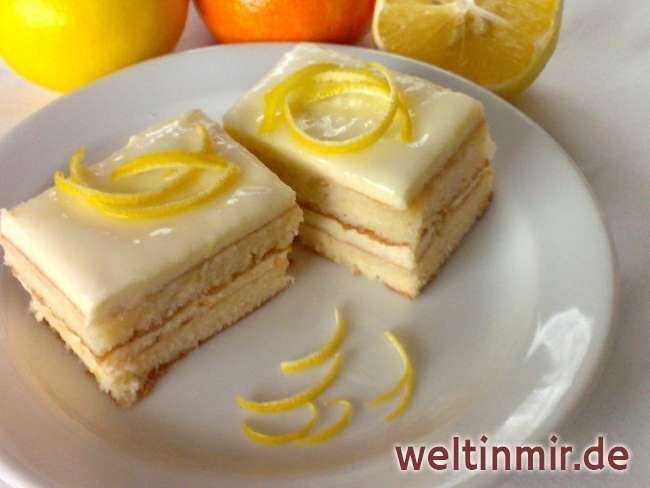 Erfrischende Zitronen Schnitte, für die Sie immer von dem Besuch gelobt werden. Das Rezept ist aus der halben Menge gemacht. Wenn zahlreicher Besuch erwartet wird, empfehlen wir die doppelte Menge vorbereiten.
