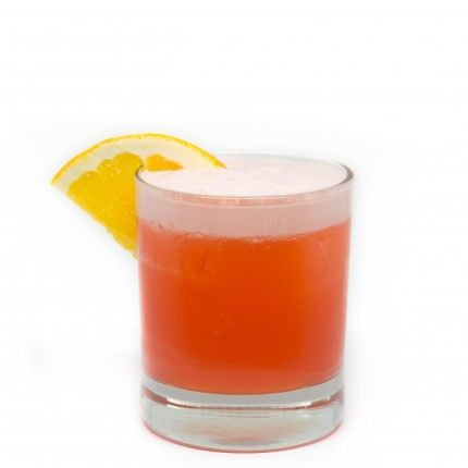 Aperol Sour  5cl Aperol  3cl fresh lemon juice 2cl simple siroup  2cl fresh orange juice  shaked well & strained in tumbler with ice  - garnish with orange, lemon & cerry