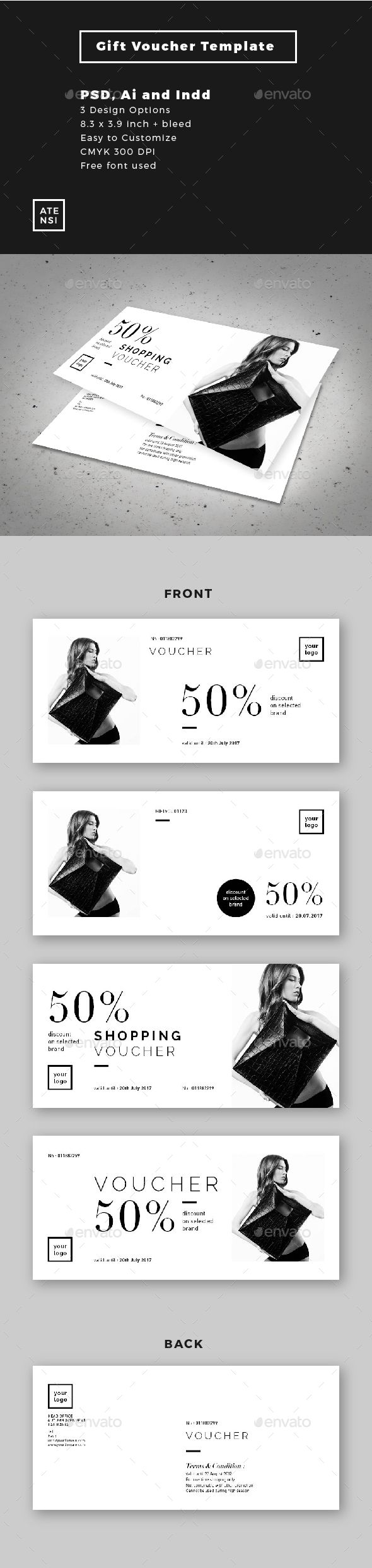#Fashion #Gift #Voucher - #Cards & #Invites Print Templates Download here: https://graphicriver.net/item/fashion-gift-voucher/15660253?ref=alena994