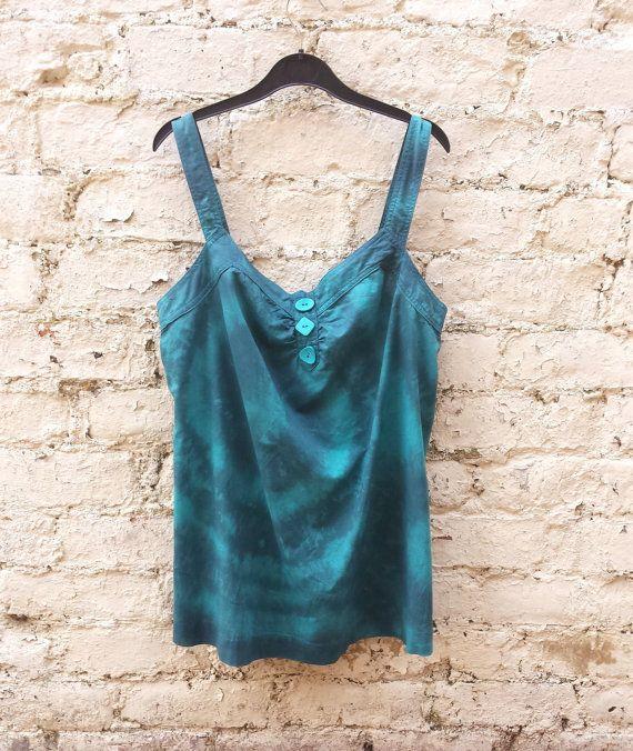 Teal & Black Tie Dye Ladies Vest Top size 16 by AbiDashery on Etsy #teal #gift #womens