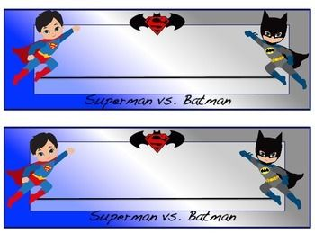 Is your classroom ready for school? Why not try out these Superman vs Batman themed desk name plates? They would make a great addition to your superhero themed classroom!Just print and laminate on card stock for durability.Thank you for shopping. Please be sure to follow me and leave your feedback to gain credits for future TpT purchases.WKreider