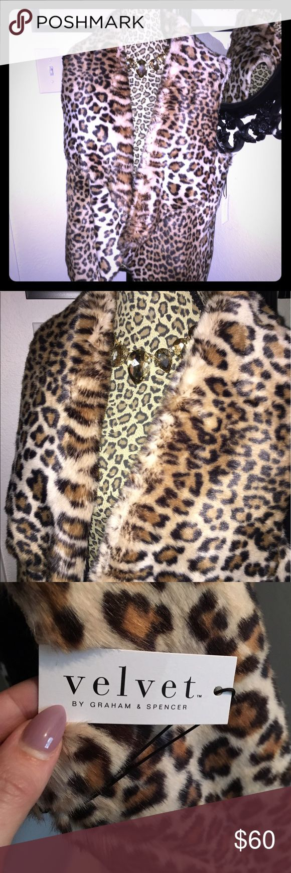 NWT Velvet by Graham & Spencer faux fur leopard L Brand-new with tags leopard print faux fur vest. Gorgeous and has pockets for holding all your necessities close at hand. Marked a size large but could fit bigger or smaller depending on how much drape you want in your vest. Check out my closet for more great listings! Velvet Jackets & Coats Vests