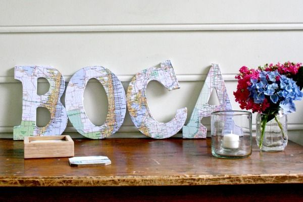 Showcase your favorite cities and create some cute wall art with these map-wrapped marquee letters. Get the tutorial at Bright Bold & Beautiful.