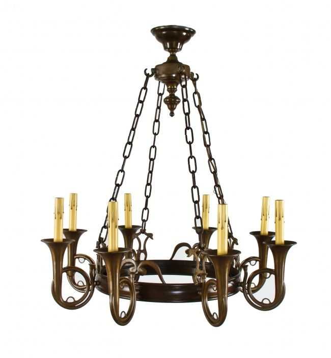 Original late 1930's original heavy cast bronze Chicago Athletic Club  candelabra chandelier with uniquely designed