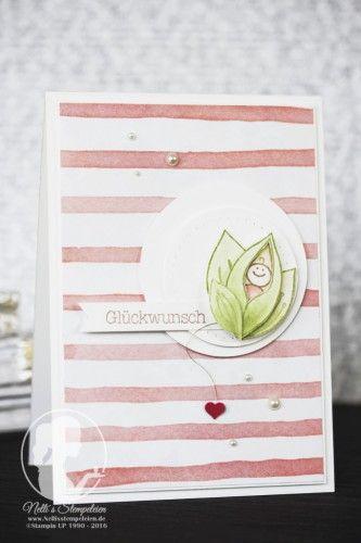 Kleines Erbsenbaby - Nellis Stempeleien Eine Karte zur Geburt mit dem Stempelset Friends&Flowers von Stampin'UP! als Hintergrund das Designpapier Geburtstagsstrauß #GDP020