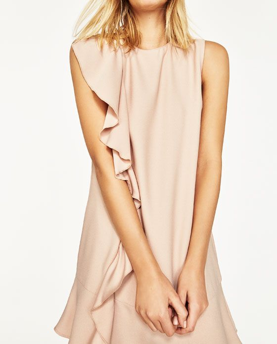 zara: STRAIGHT-CUT DRESS WITH FRILL