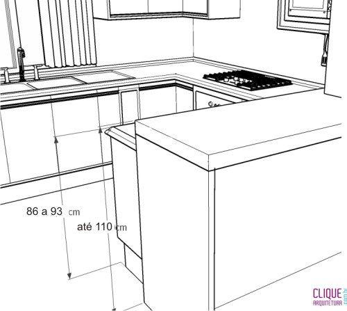 Informações de como projetar a cozinha: http://www.cliquearquitetura.com.br/portal/dicas/view/bancadas-de-cozinha/96