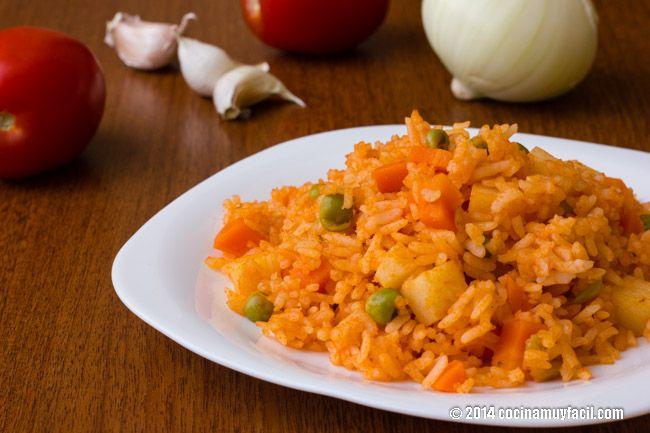Receta de arroz rojo o arroz a la mexicana. Con fotografías, consejos y sugerencias de degustación. Recetas de cocina mexicana