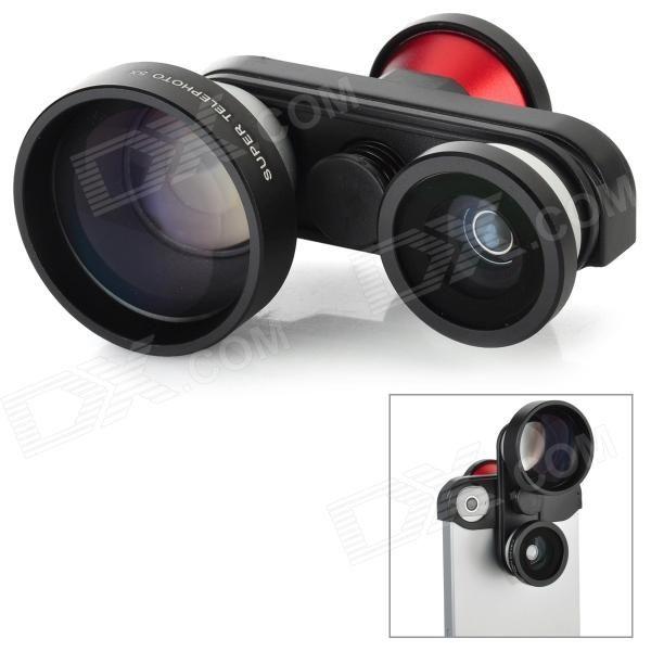 FMST 4-en-1 Fish Eye + Marco + 5X superteleobjetivo + cámara frontal para iPhone 5 SKU: 961184828 (Añadido el 18/06/2013) Precio: US$ 41,55