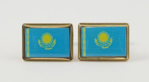 Kazakhstan Flag Cufflinks by LoudCufflinks on Etsy
