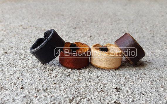 Men's Leather Ring-Unisex Leather by 4BlackbirdsStudio on Etsy
