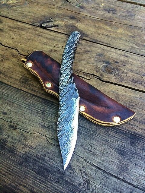 High Carbon Wire Rope Cable knife by CineScapeStudios on Etsy, $200.00