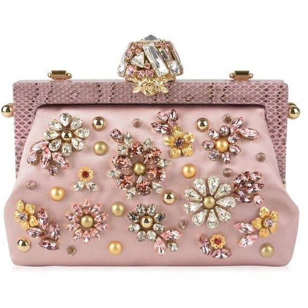 Dolce And Gabbana Vanda Jewel Appliqued Satin Clutch found on Polyvore featuring bags, handbags, clutches, purses, bags clutches, rosa, satin clutches, rose handbag, satin purse and brown purse