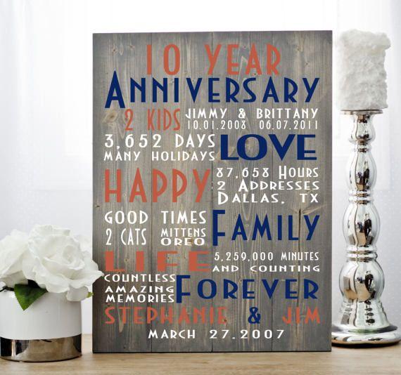 10th anniversary anniversary gift tenth anniversary ten