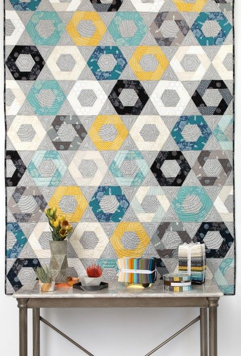 """""""Snacktime"""" quilt designed by Jaybird Quilts. Features Shimmer by Jennifer Sampou."""