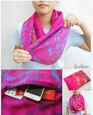 Rainbow Purple Travel Infinity Scarf with Hidden Pocket Travel comfortably and …   – Nähen