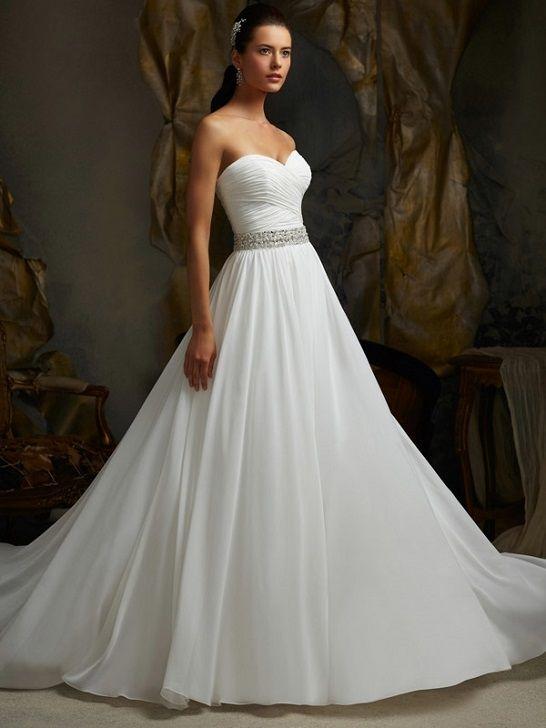 Lace Silk Organza Strapless Grosgrain Ribbon belt Chapel Train Wedding Dress S4190