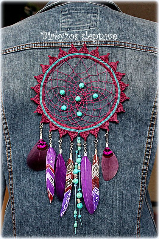 Macrame decoration in dream catcher style with painted feathers,turquoise and silver plated beads <3 #macrame #decoration #dreamcatcher #on #jeans #jacket #turquoise #silverplated #beads <3