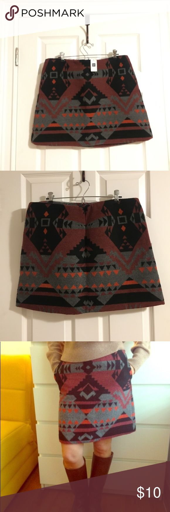 NWT Gap Aztec print skirt On trend Aztec print skirt that I LOVE. Bought from another posher but sadly too snug in the hips for me. Wool & poly blend   Waist is 34 inches   On Body shot taken from the World Wide Web but not the same size as this one! GAP Skirts Mini