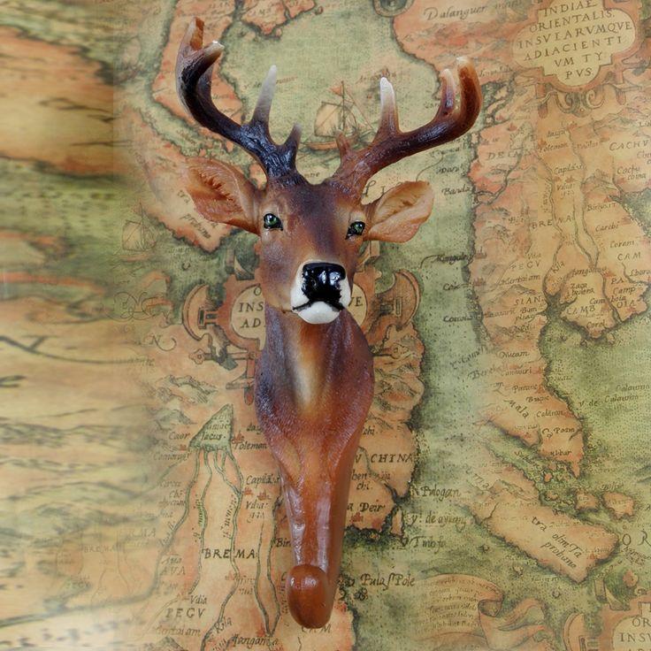 Simülasyon reçine hayvan başları asılı dekorasyon yaratıcı duvar duvar Avrupa vintage deer hayvan sundurma süslemeleri asılı çubuğu(China (Mainland))