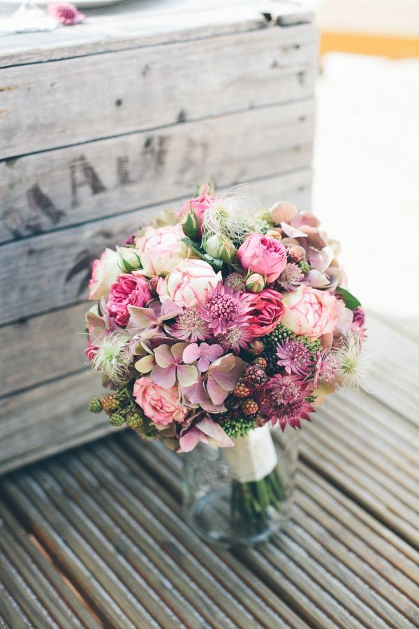 Pink tone bridal bouquet, elegant rustic wedding