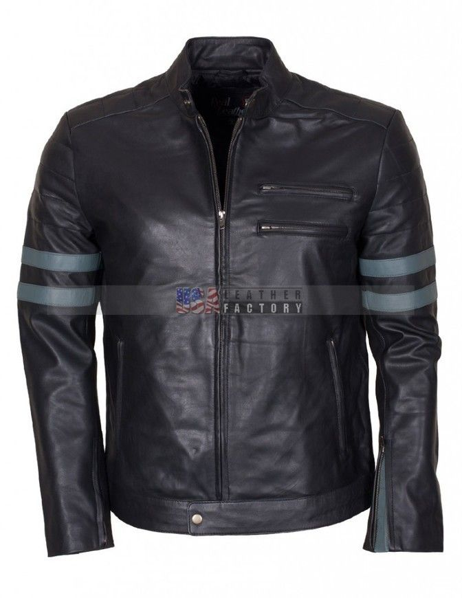 Buy Men Retro Black Biker Leather Jacket from the online store USA Leather Factory.
