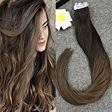 Full Shine 20 inch 50g 20Pcs Per Package Remy Hair Tape In Extensions Human Hair Ombre Color #3 Fading to #6 Brown Straight Hair