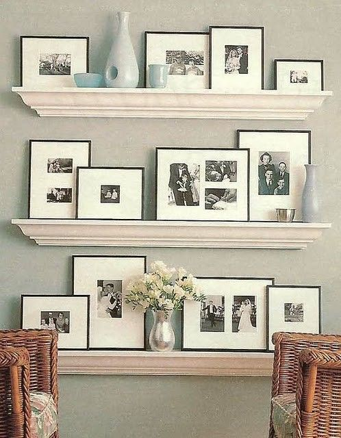 would be easier to change out than mounting the frames to the wall. They could be staggered differently to take up more space on a larger wall.