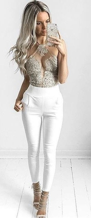 Gold Lace Bodysuit + White Pants                                                                             Source