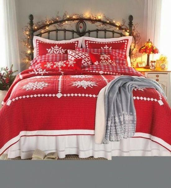 couvertures rouges à motifs flocons blancs