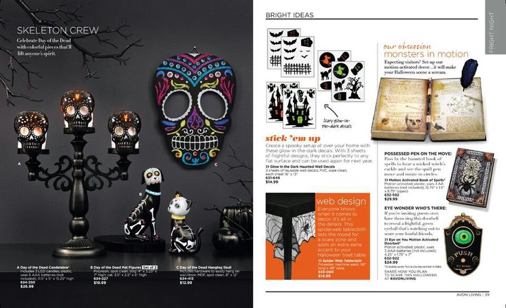 Skeleton crew: celebrate with colorful pieces that will lift anyone's spirit. Halloween, day of the dead, Dia de los Muertos, sugar skull decor including motion activated items available at https://www.avon.com/brochure?s=ShopBroch_topnav&c=repPWP&otc=201720&rep=cmercer#/700/201720/en/738