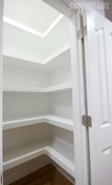 I could see doing this in our pantry... Closet with floating shelves.