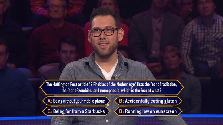 """Wednesday, Robert Oswald gets into phobias from the #HuffingtonPost on an all-new #MillionaireTV. Radiation and #zombies are checked, but what's the correct #FinalAnswer for nomophobia? Don't miss Wednesday's show with host Terry Crews to keep your phobia of missing """"Millionaire"""" under control. Go to www.millionairetv.com for local time and channel to watch!"""